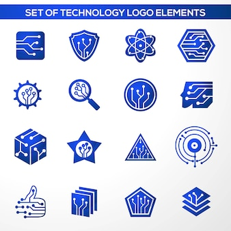 Set of technology logo elements