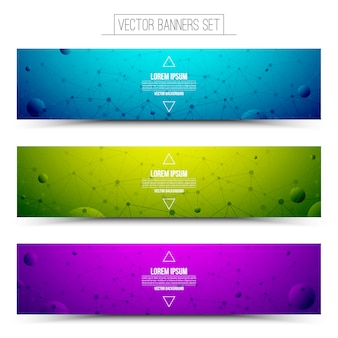 Set of technology vector colorful web banners