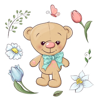 Set of teddy bear and flowers.