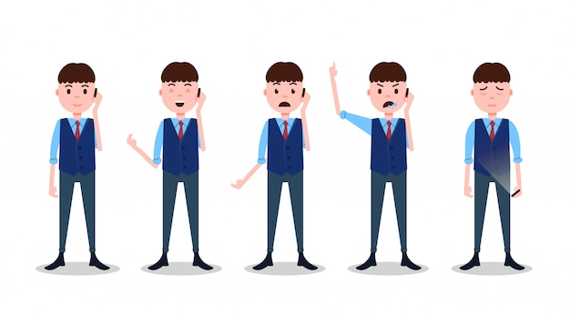 Set teen boy character different poses and emotions phone call male business suit