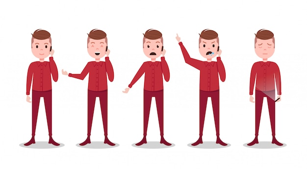 Set teen boy character different poses and emotions phone call male red suit