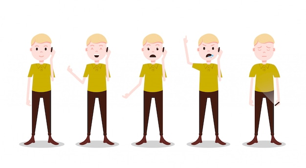 Set teen boy character different poses and emotions phone call male