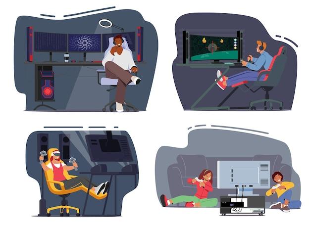컴퓨터 게임을 하는 10대 게이머를 설정하고, 캐릭터는 전문 데스크탑 및 장비에 앉아 헤드셋을 착용합니다. 사이버 스포츠 기술, 토너먼트, 홈 펀. 만화 사람들 벡터 일러스트 레이 션