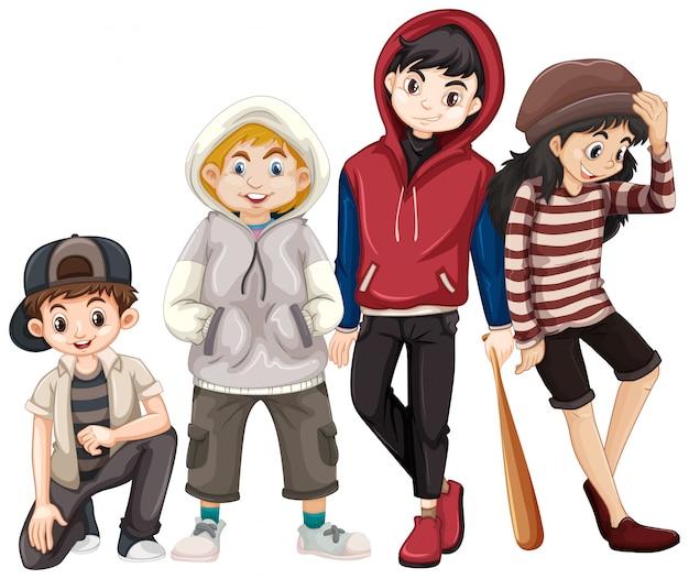 Set of teenagers