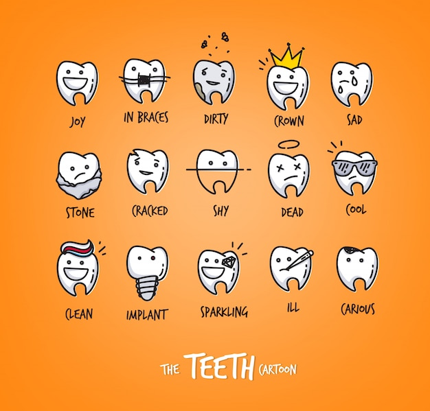 Set of teeth in different situations, drawing on orange background.