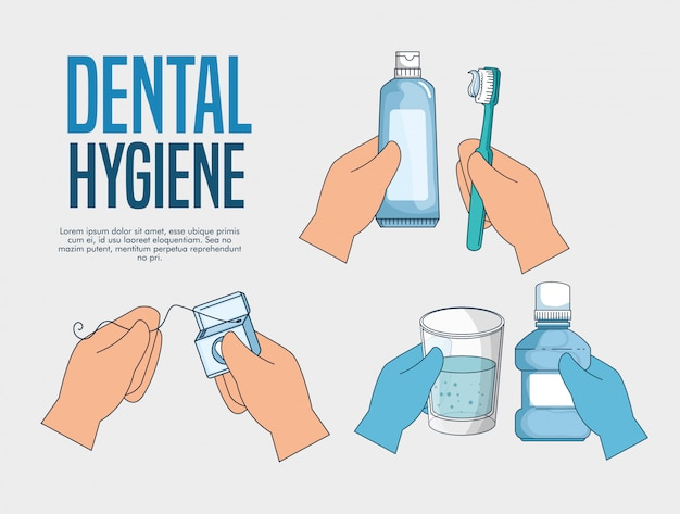 Set teeth hygiene medicine treatment to healthcare
