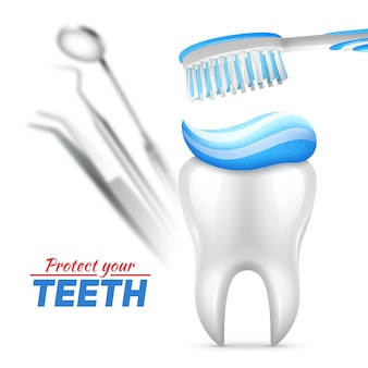 Set of teeth protection with tooth toothbrush and dental instruments