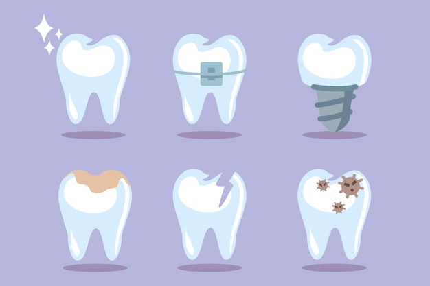 Set of teeth tooth icons blue background dental concept for your design oral hygiene teeth cleaning