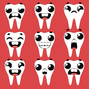 Set teeth with different emotions. vector illustration in cartoon childish style fun