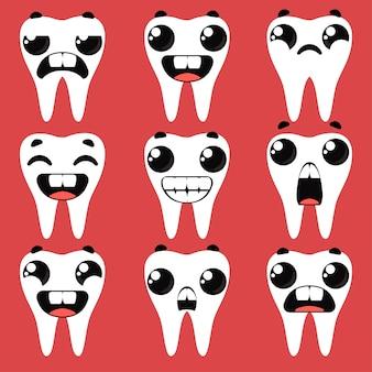 さまざまな感情で歯を整えます。漫画の幼稚なスタイルの楽しみのベクトルイラスト