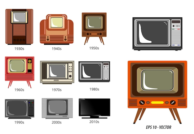 Set of television history timeline or evolution television receiver in flat style