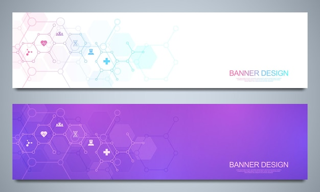 Set of template banners