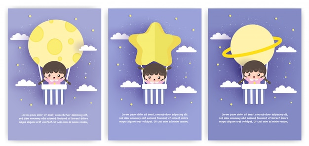 Set of template cards with cute girl standing on a balloon  in paper art style.