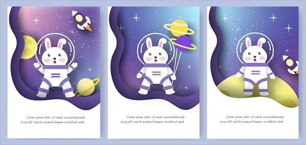 Set of template cards with cute rabbits in galaxy background.