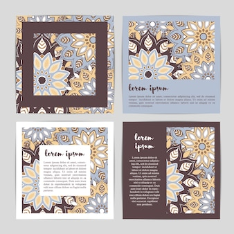 Set of template cards with hand drawn flower mandala.