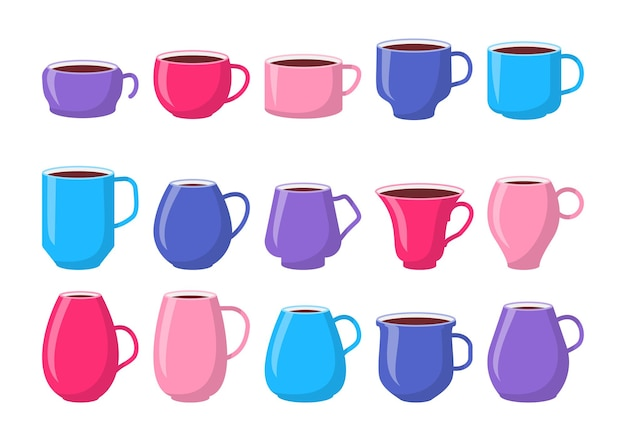 Set of template ceramic colorful mugs pink blue cups with coffee flat.