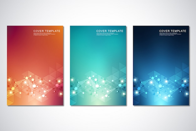 Set of template for cover or brochure, with molecules background and neural network