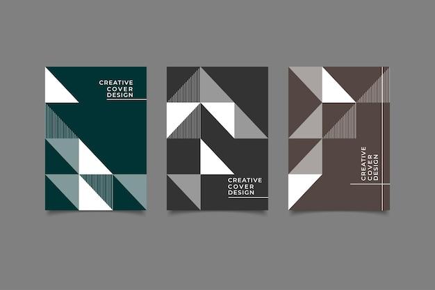 Набор шаблонов обложки ретро геометрический