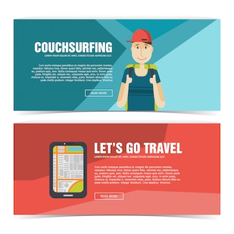 Set template design banner for travel. advertising for tourist. horizontal flyer with promotion for journey and trip. couchsurfing poster with boy and smartphone icon. .