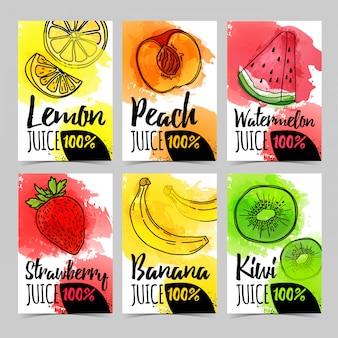 수채화 텍스처와 유기농, 천연 주스 과일 장식 전단지 템플릿 디자인 카드 설정