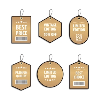 Set of template design luxury golden price tag and discount label for sales