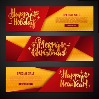 Set template design merry christmas horizontal banner