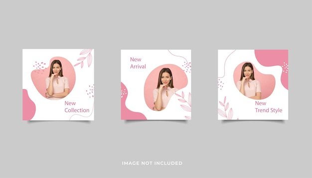 Set template fashion sale abstract background for social media post