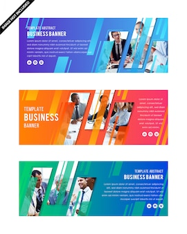 Set of template of gradient color web banner with diagonal element for a photo collage.