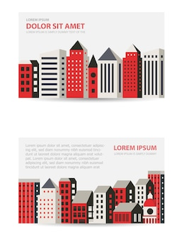 都市をテーマにしたテンプレートの招待状、名刺、チラシを設定します。不動産業者、建設会社、観光会社に適しています。