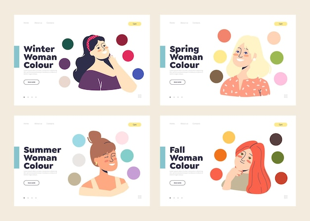 Set of template landing pages with palette of best colours for winter, spring, summer and autumn