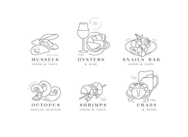 Установите логотипы и значки шаблонов для морепродуктов