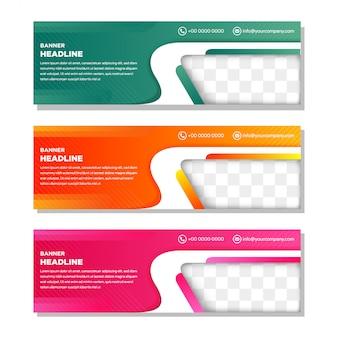 写真のコラージュのための斜めの要素を持つカラーwebバナーのテンプレートを設定します。
