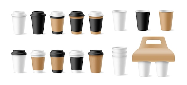 Set of template papers cups open, closed with plastic lids, in craft sleeves and holders isolated. empty realistic takeaway mugs for branding and cafe label. 3d vector illustration