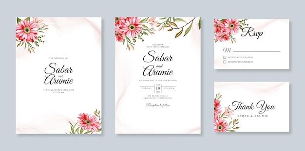 花の水彩画でテンプレートの結婚式の招待カードを設定します。