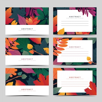 Set template  white invitation card with fall leaf pattern
