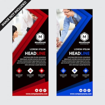 Set of templates black background roll-up banners with red and blue elements