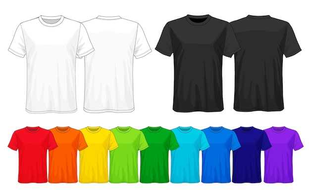Set of templates colored t-shirts.
