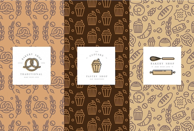 Set of  templates and elements for bakery packaging in trendy sketch linear style.