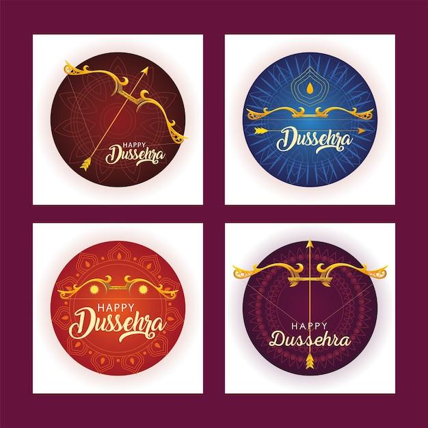 Set of templates for indian festival dussehra celebration