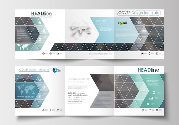 Set of templates for tri-fold brochures. square design.