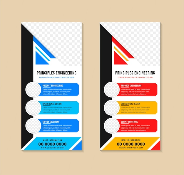 Set of templates of vector white rollup banners for techno with diagonal colored elements
