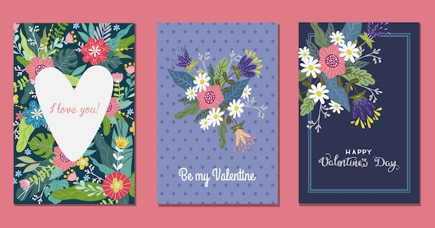 Set of templates with flowers and heart