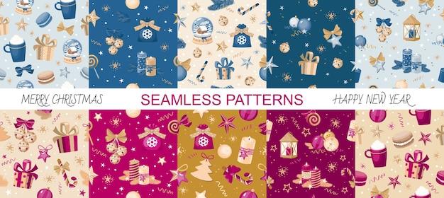 Set of ten christmas seamless patterns.