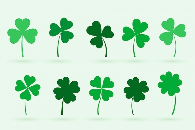 Set of ten clover leaves in flat style