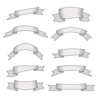 Set of ten ribbons and banners for web design. great design element isolated on white background. vector illustration.