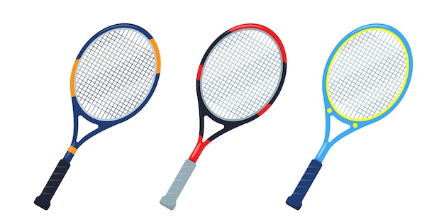 Set of tennis rackets icons isolated on white background.