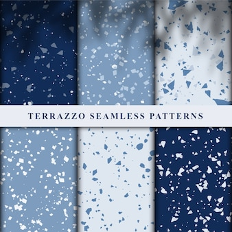 Set of terrazzo japanese style seamless patterns.