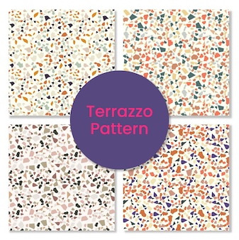 Set of terrazzo modern pattern with stone shapes.