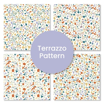 Set of terrazzo pattern with abstract shapes.