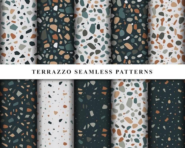 Set of terrazzo seamless patterns design